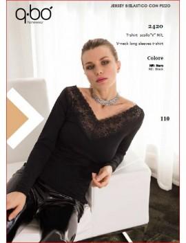 QBO T-Shirt donna manica lunga  art 2420