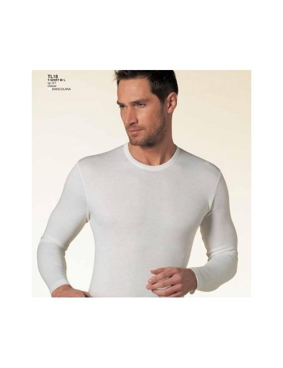 Maglia uomo gitocollo lana e cotone manica lunga Nottingham