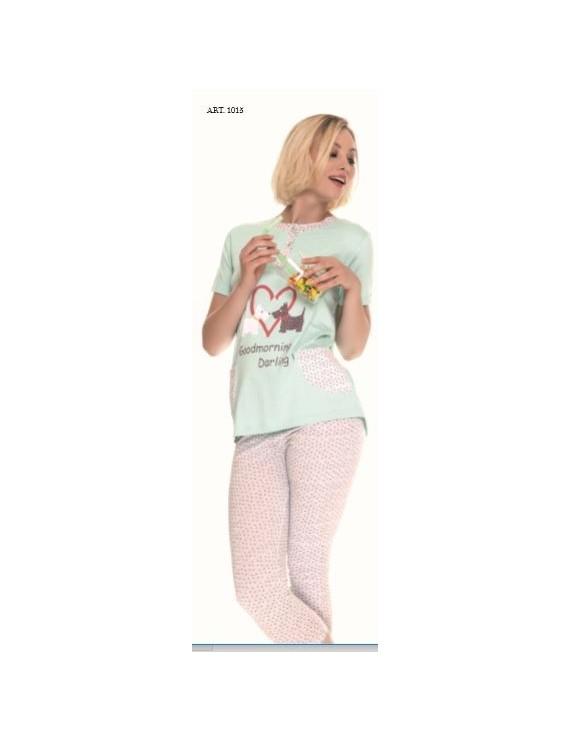 MyPi Pigiama donna cotone con pinocchietto art 1015