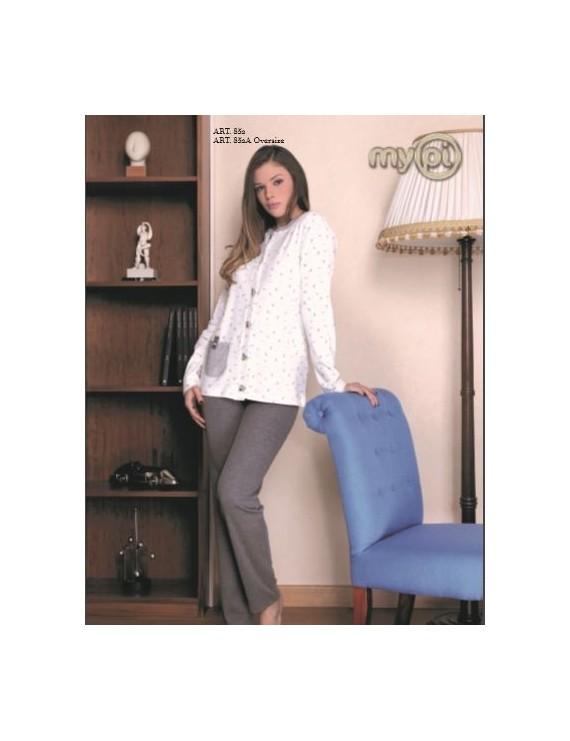 MyPi pigiama donna cotone caldo aperto calibrato art 852